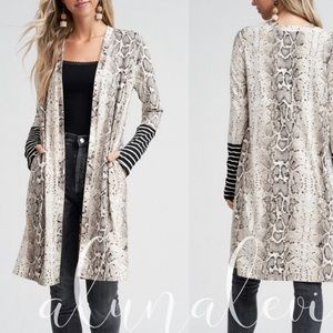 Snakeskin Stripe Cuff Long Cardigan w/ Thumb Holes